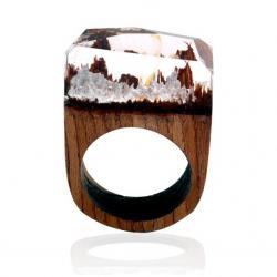Prsteň Wood Resin Typ2-Kryštálová/57mm
