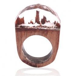 Prsteň Wood Resin Typ3-Kryštálová/57mm