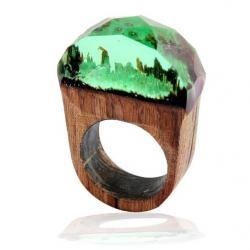 Prsteň Wood Resin Typ5-Zelená/57mm