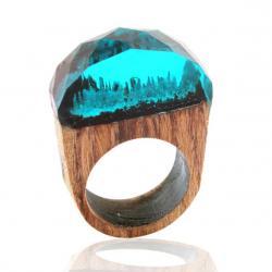 Prsteň Wood Resin Typ9-Zelená/59mm