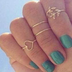 Sada prstienkov Srdiečko (4ks)-Zlatá