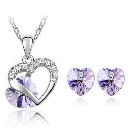 Set Heart Crystal - Fialová
