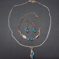 Set Rhinestone-Zlatá/Sl.Modrá-2.akosť
