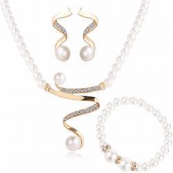 Set Trio Pearl-Zlatá/Biela