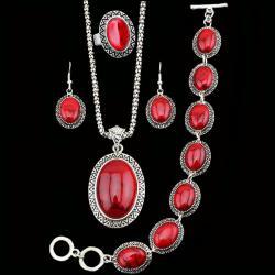Set Turquoise Antique - Červená