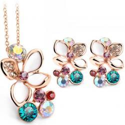 Set šperkov Enamel Flower - Zlatá