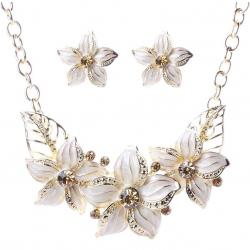 Set šperkov Varnish Flower - Biela