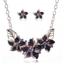 Set šperkov Varnish Flower - Čierna