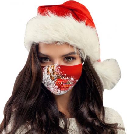 1x Vianočné jednorázové Rúško-Santa na saniach