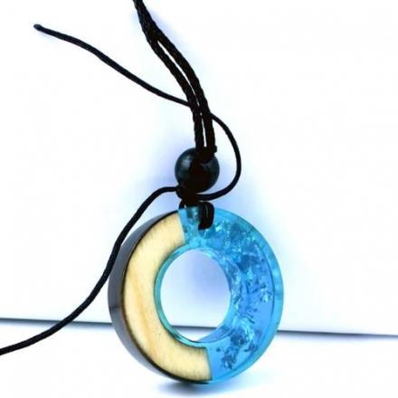 Náhrdelník Ring Resin-Modrá