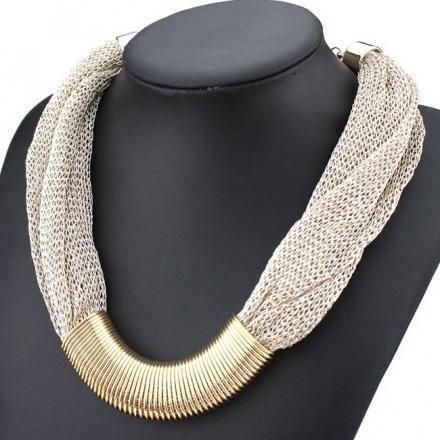 Náhrdelník Singapore Chain - Sivá/zlatá