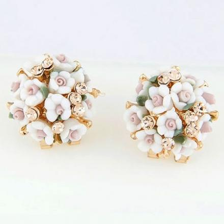 Náušnice Bunch Flower - Biela