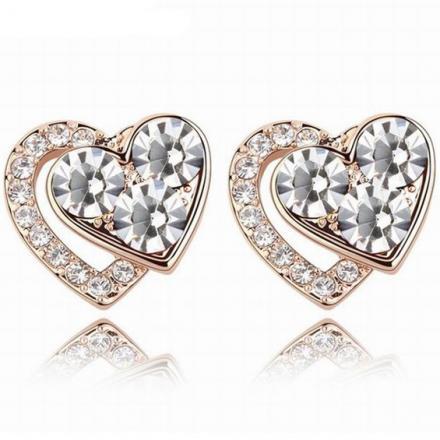 Náušnice Lovely Heart-Kryštálová