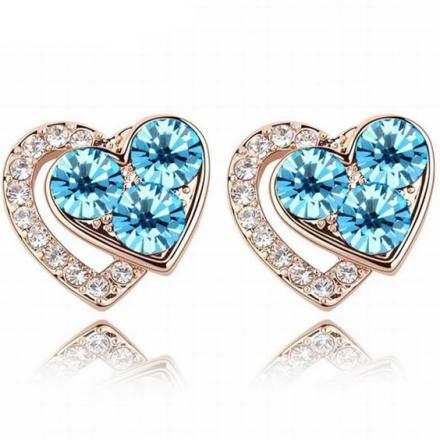 Náušnice Lovely Heart-Modrá