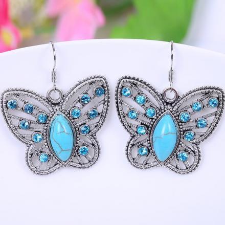 Náušnice Vintage Butterfly-Tyrkysová