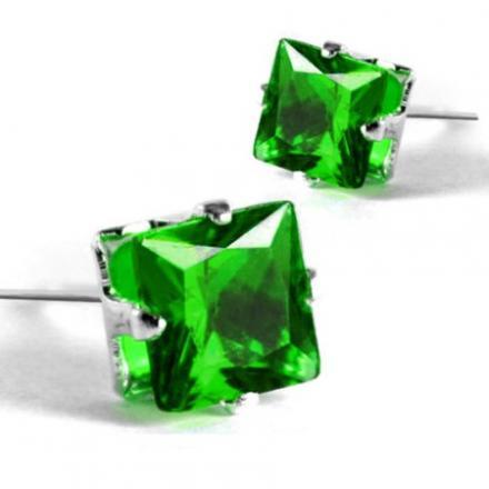 Náušnice napichovacie Kocky - Zelená