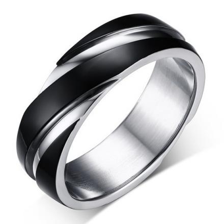 Prsteň Twist-Čierna/69mm