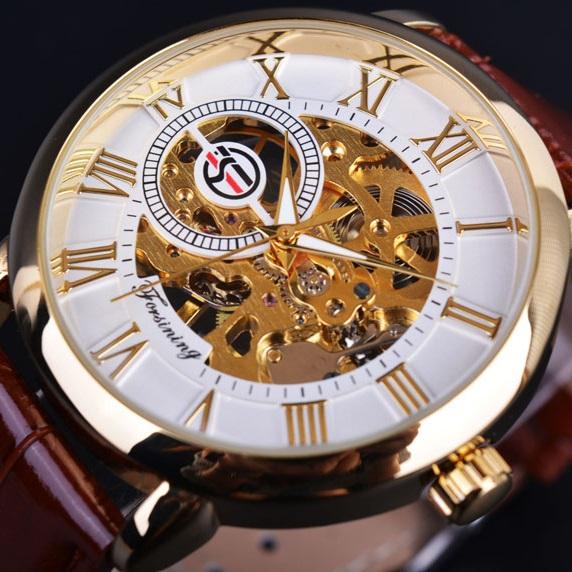 Hodinky Gold Skeleton-Biela/Zlatá KP2614