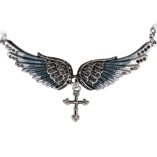 Colier Angel Cross - Negru KP2271