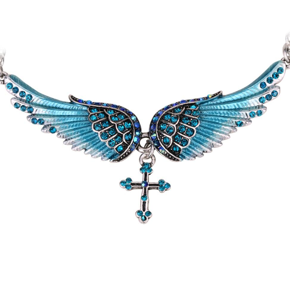 Colier Angel Cross - Albastru KP2274