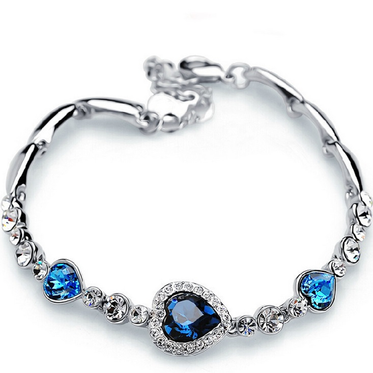 Levně Náramek Blue Heart-Stříbrná/Modrá KP2544