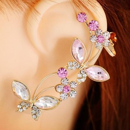 Náušnice Crystal Butterfly(Levá)-Růžová KP2502