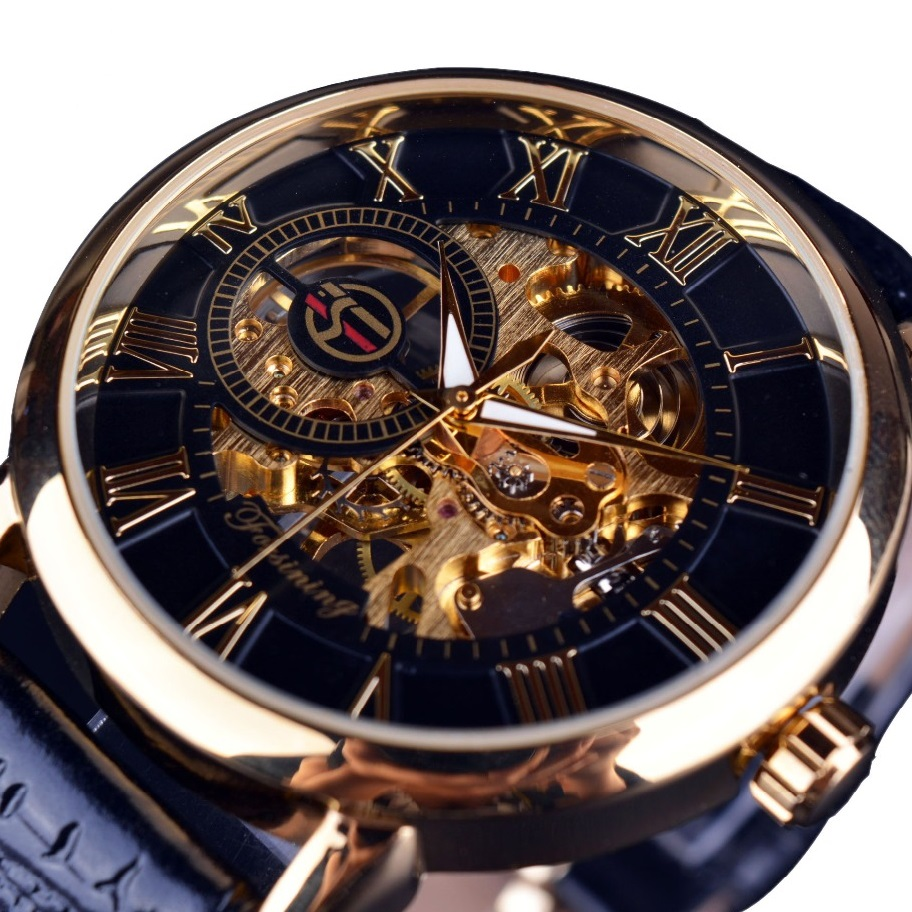 Hodinky Gold Skeleton-Černá/Zlatá