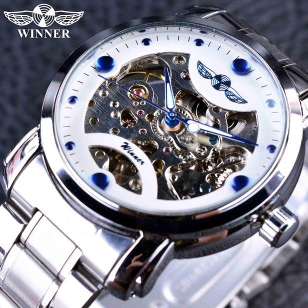 Pánské Hodinky Winner Sky-Bílá Modrá 55cec0413d