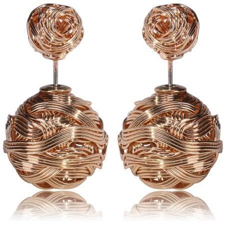 Náušnice Double Bead-Prepletaná zlatá KP990