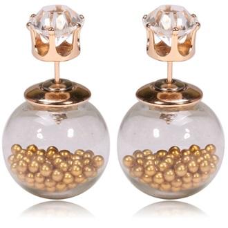 Náušnice Double Bead - Presýpacie - zlatá KP995