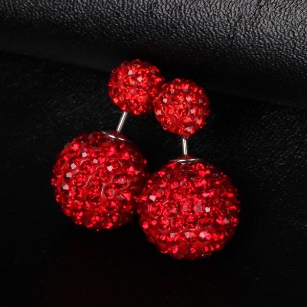 Náušnice Double Bead - Shamballa - Červená KP1901