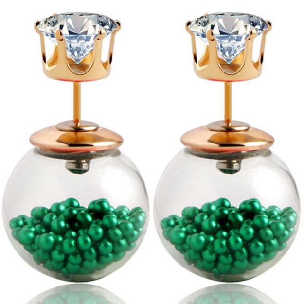 Levně Náušnice Double Bead - Přesýpací - Zelená KP1777