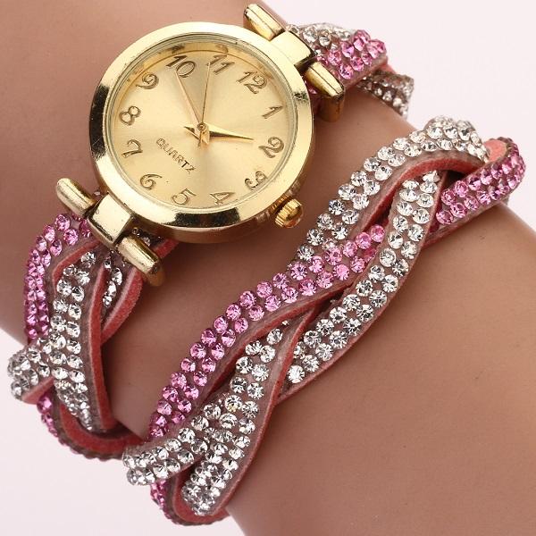 Hodinky Feminino Crystal - Růžová
