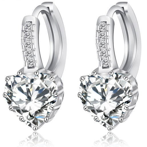 Levně Náušnice Platinum Heart - Stříbrná KP960