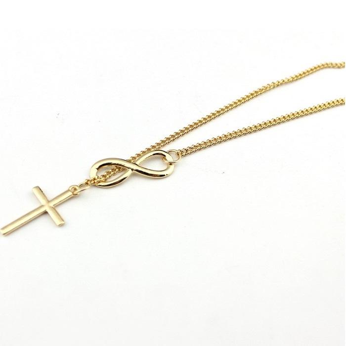 Náhrdelník Infinity Cross - Zlatá KP1712