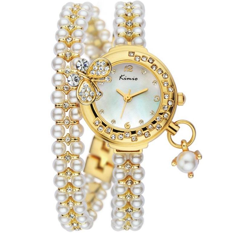 Hodinky KIMIO Pearl - Zlatá