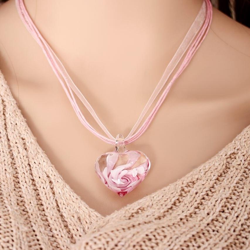 Náhrdelník Heart Glass-Ružová KP6631