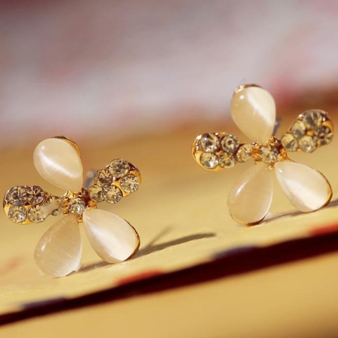Náušnice Opal Crystal Flower KP1253
