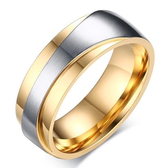 Pánsky Prsteň Promise-Zlatá/Str./57mm KP4855