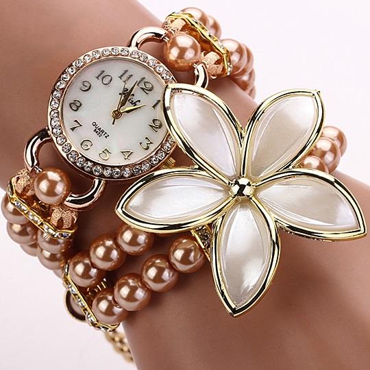 Hodinky Pearl Flower - Staro- růžová