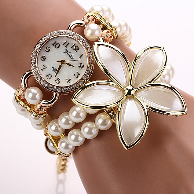 Hodinky Pearl Flower - Bílá KP1193