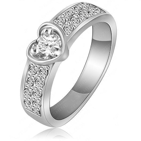 Prsten Romantic Heart - Stříbrná / 51mm KP1060