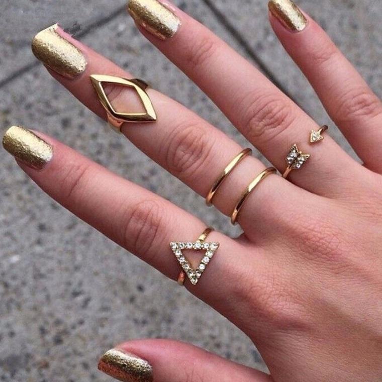 Sada prstýnků Antic (5ks) - Zlatá KP1716