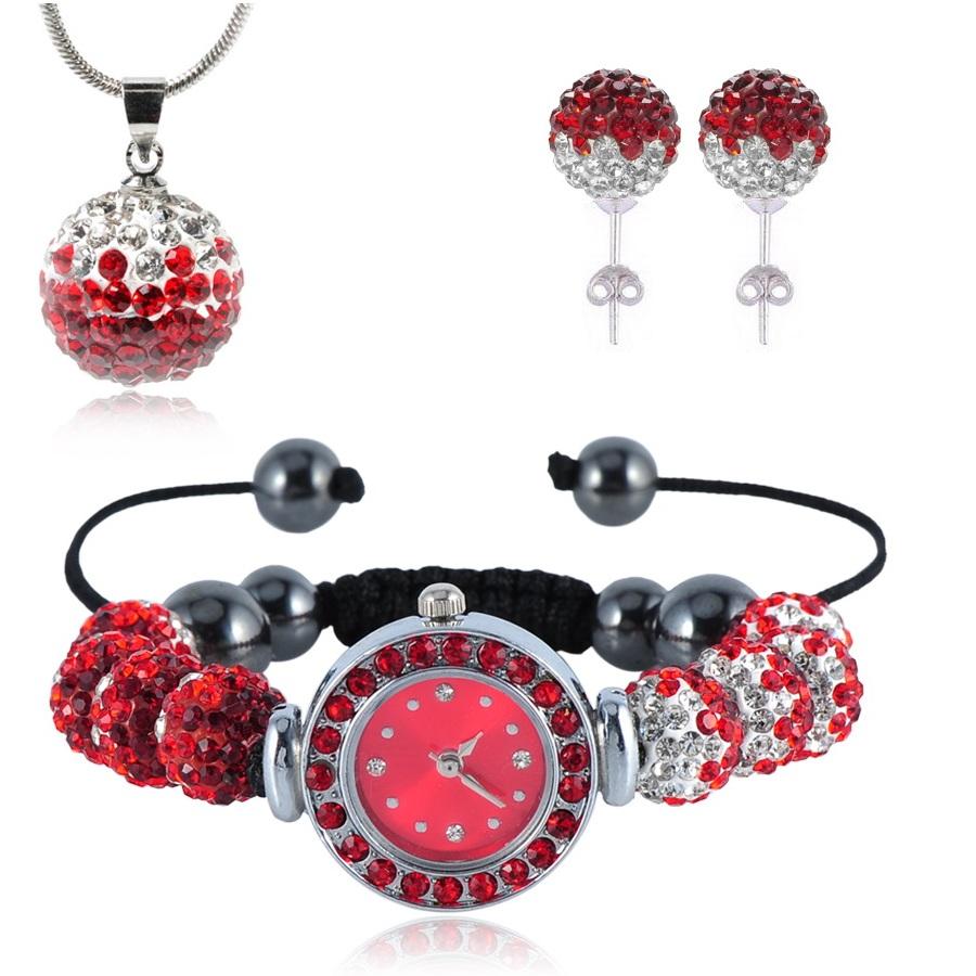 Shamballa hodinky-Červená /Křišťálová