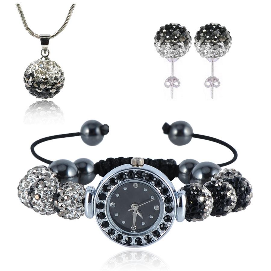 Shamballa hodinky - Černá/Křišťálová