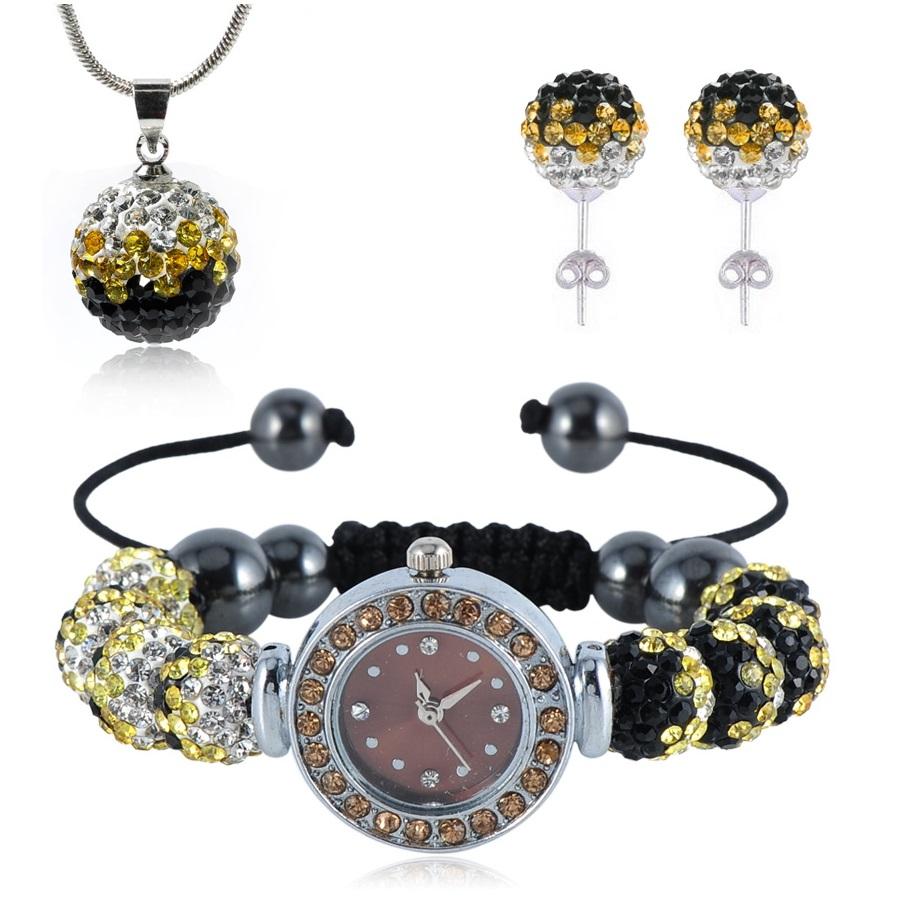 Shamballa hodinky -Černá /Zlatá