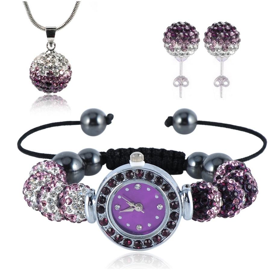 Shamballa hodinky -Fialová/ Křišťálová