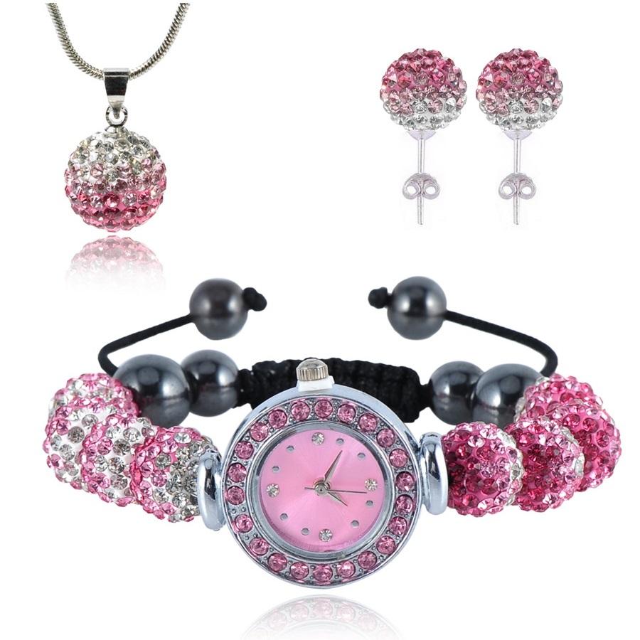 Shamballa hodinky - Růžová/ Křišťálová