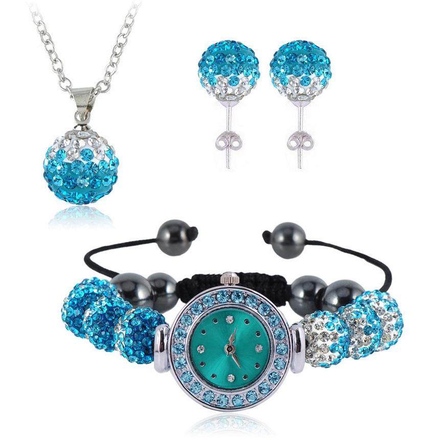 Shamballa hodinky - Tyrkysová/ Křišťálová
