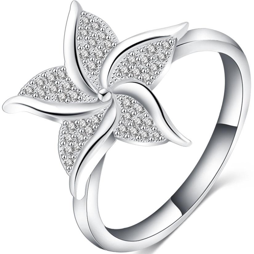 Prsten Spiral Flower - Stříbrná/52mm KP1827